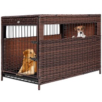 DEStar PE Rattan Wicker Pet Dog Cage Crate Summary