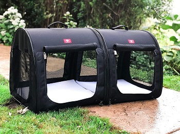 BEST FOR TRAVEL DOUBLE CRATE FOR TWO DOGS