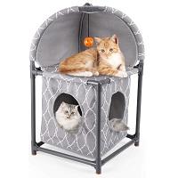isYoung 2-Tier Plastic Cat Condo Summary