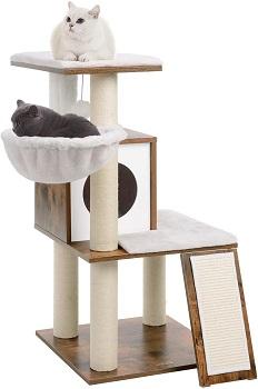 Feandrea Walnut Wood Cat Condo Tree Review