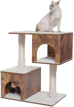 Usikey Wooden Cat Tree 2 Condos Review