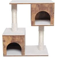 Usikey Wooden Cat Tree 2 Condos Summary