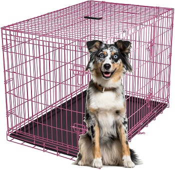 BEST FOLDING PINK DOG CAGE LARGE