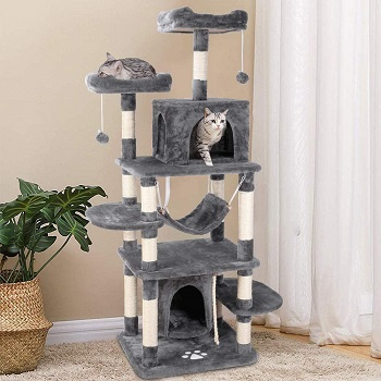 BEST LARGE GREY Potby 67'' Large Grey Cat Tree