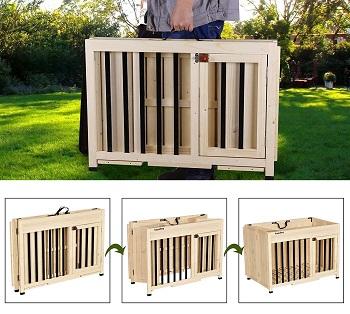 Best Folding Indoor Wooden Lovupet Wooden Foldable Pet Crate