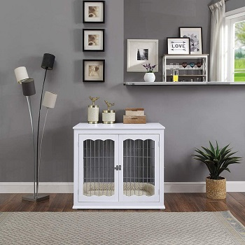 Best Furniture-Style Large Double Door Unipaws Pet Crate End Table