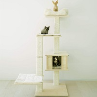 Pawmona Natural Birch-Wood Cat Tree Summary