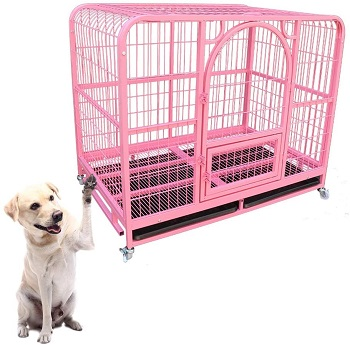 BEST HEAVY DUTY LARGE PINK DOG CRATE
