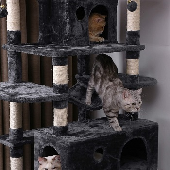 Bewishome Large Cat Tree Condo Sisal Posts