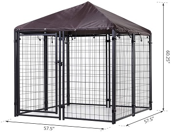 PawHut Lockable Dog House Kennel