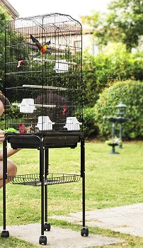 BEST LARGE VINTAGE WROUGHT IRON BIRD CAGE