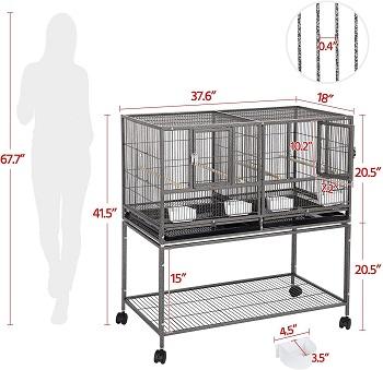Topeakmart Divided Breeder Parakeet Cage