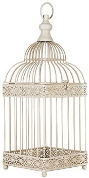 EveryDecor Antique White Bird Cage