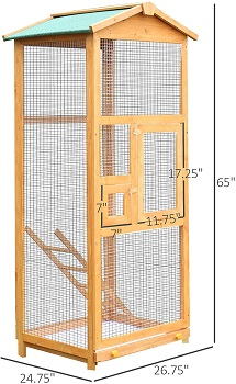 PawHut 65 Large Wooden Aviary Cage