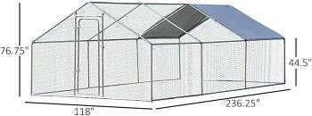 PawHut Galvanized Large Metal Aviary
