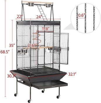 Yaheetech 69-inch Wrought Iron Rolling Cage