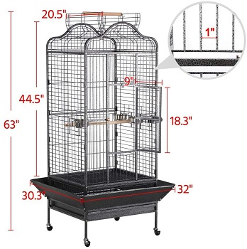 Yaheetech Wrought Iron Rolling Bird Cage