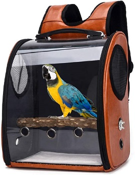 BEST ACRYLIC BIRD BACKPACK WITH PERCH